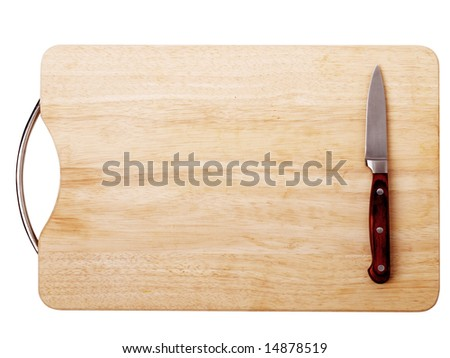 Breadboard with a knife isolated on a white background - stock photo