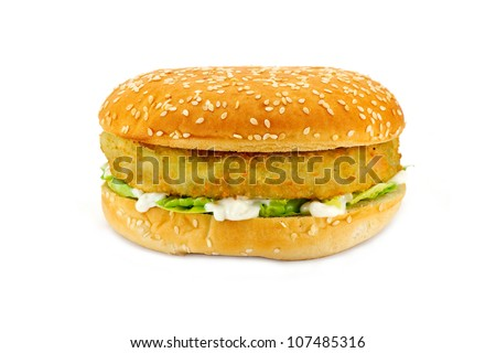Breadcrumbed vegetarian or veggie burger, could also be used for chicken burger or fish burger - stock photo