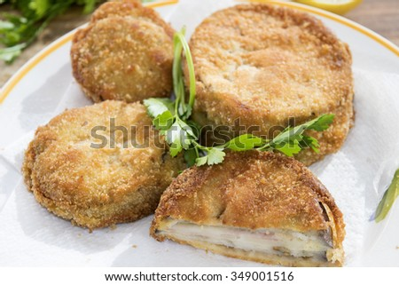 breaded and fried vegetables in carriage with aubergines mozzarella and breadcrumbs