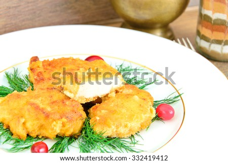 Breaded Chicken Fillet with Herbs and Cranberries. Studio Photo. - stock photo