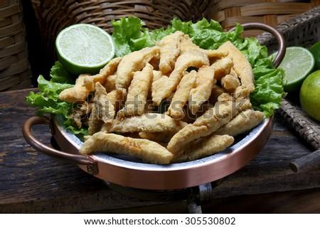 breaded fish - stock photo