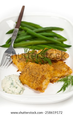 Breaded Fish Fillets. Selective focus. - stock photo
