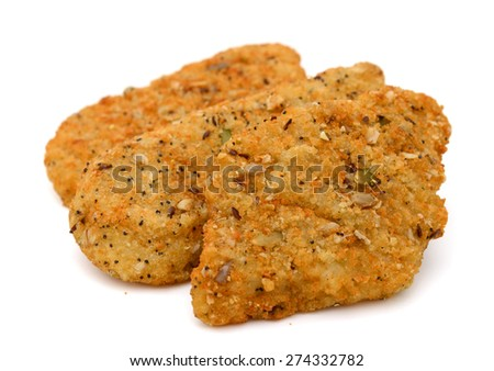 breaded fish on white background  - stock photo