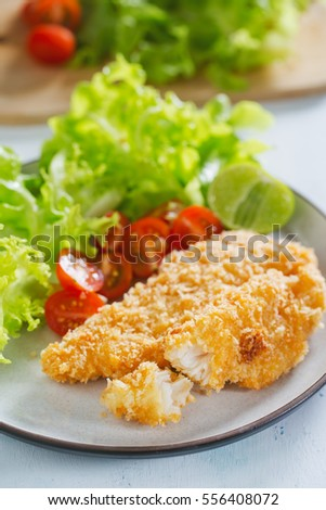 breaded fish with vegetable