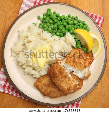 Breaded haddock fish fillets mashed potato stock photo for Breaded fish recipe