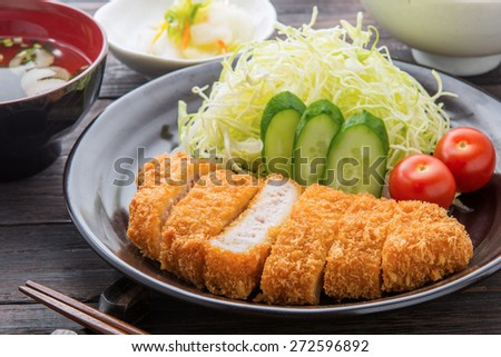 breaded pork cutlet - stock photo