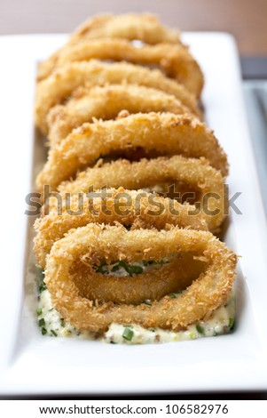 breaded squid rings / appetizer food - stock photo