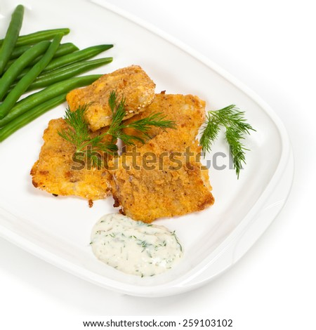 Breaded White Fish Fillets. Selective focus. - stock photo