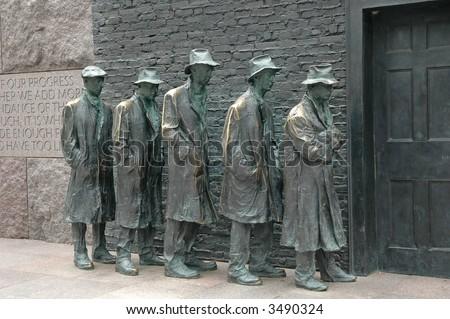 Breadline - by George Segal - FDR Memorial, Washington DC - stock photo