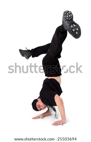 Break dancing. Breakdancer dances on a white background. - stock photo
