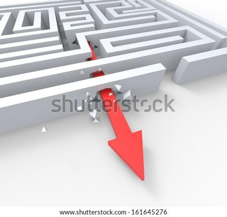 Break Out Of Maze Shows Overcome Puzzle Escape Solved - stock photo
