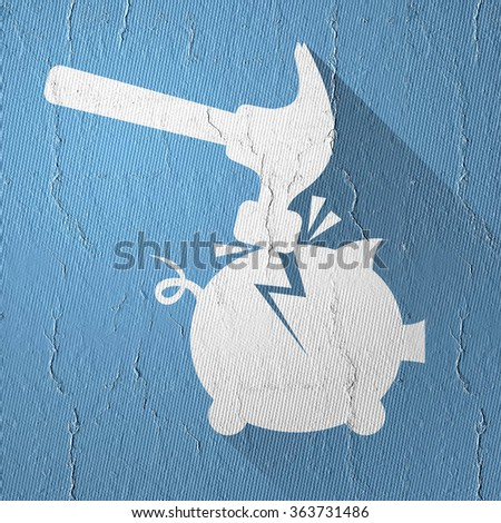 break piggy bank icon - stock photo