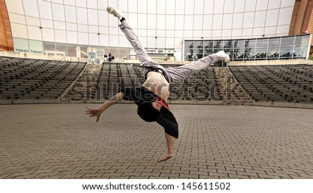 Breakdancer in the streets - stock photo