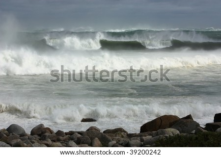 Breakers during a hurricane - stock photo