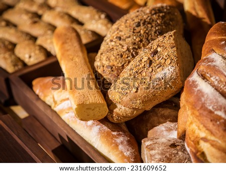 Breakfast buffet with chocolate stuffed puff pastry at hotel. See more from this session - stock photo