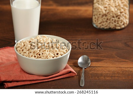Breakfast cereal on a wood background - stock photo