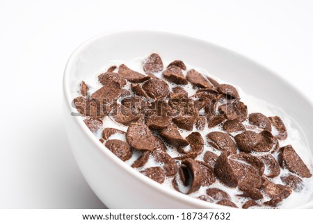 Breakfast Chocolate Cornflakes Cereal Bowl - stock photo