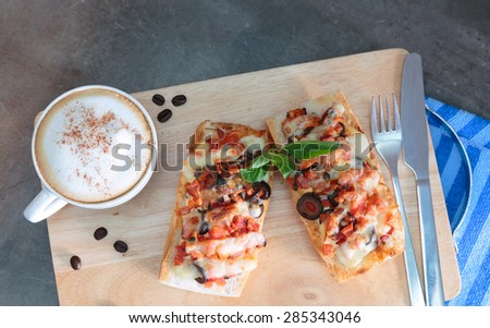 breakfast coffee french style  - stock photo