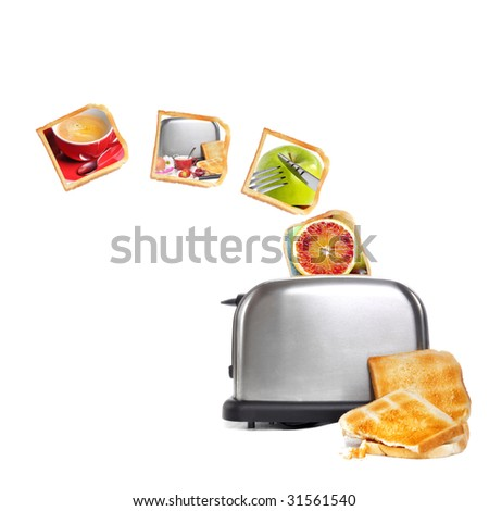 breakfast collage with toast bread