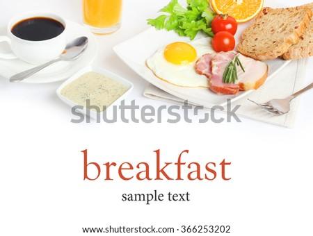 breakfast food morning fried bacon coffee juice - stock photo