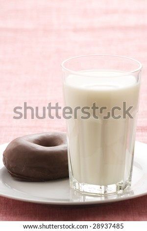 breakfast glass of chocolate milk and donut isolated