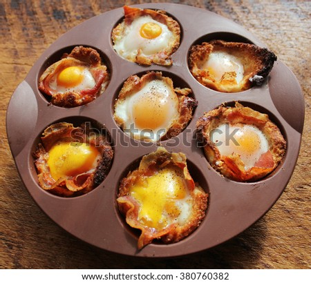 Breakfast -Ham & egg cups. Great for a buffet for brunch. - stock photo