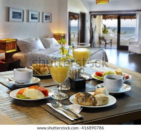 Breakfast hotel - stock photo