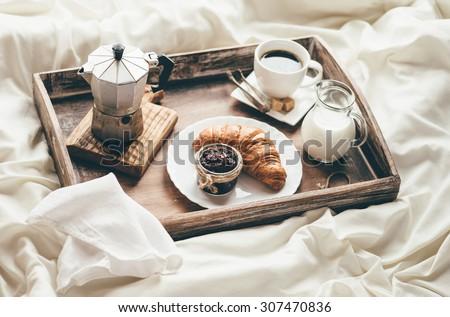Breakfast in bed. Window light - stock photo