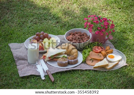 Breakfast in the garden. - stock photo