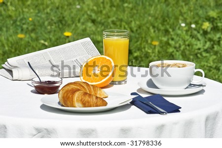 breakfast in the garden at springtime