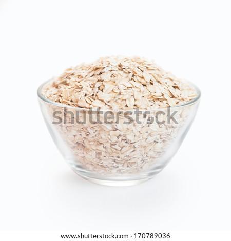 Breakfast of oatmeal flakes - stock photo