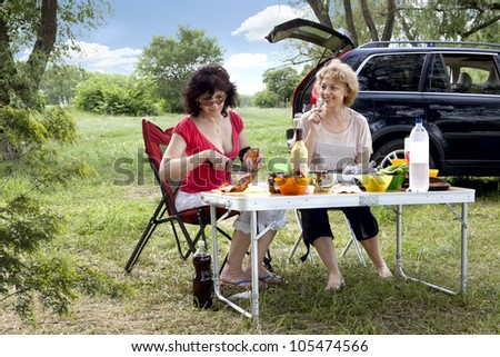 Breakfast on the nature of the forest - stock photo