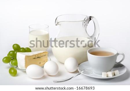 Breakfast on white background - stock photo