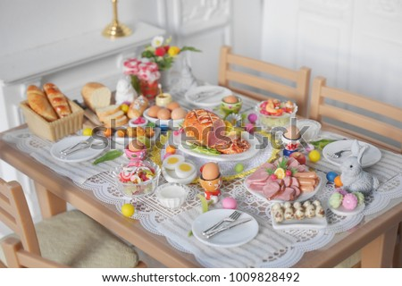 breakfast or brunch table setting for easter meal with friends and family around the table top & Breakfast Brunch Table Setting Easter Meal Stock Photo u0026 Image ...