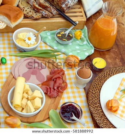 breakfast or brunch table setting full of healthy ingredients for a delicious easter meal with friends  sc 1 st  Shutterstock & Breakfast Brunch Table Setting Full Healthy Stock Photo 581888992 ...