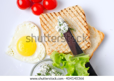 Breakfast sandwich with salad and scrambled eggs.Morning breakfast.Health breakfast.  - stock photo