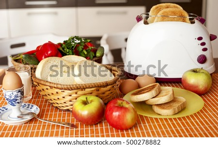 Breakfast served toasted bread and egg with fruits