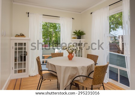 Breakfast table in country style home. - stock photo