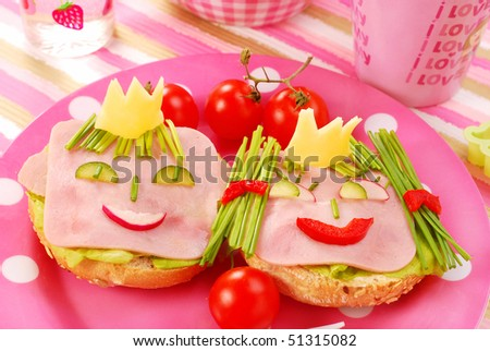 breakfast with cottage cheese for child with king and queen shape sandwich - stock photo