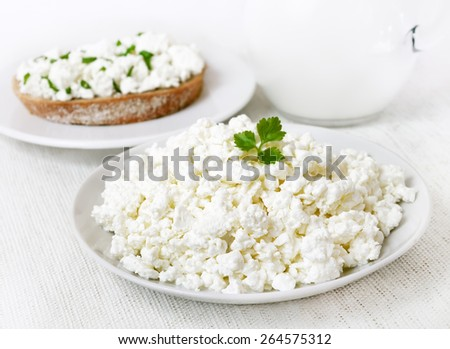 Breakfast with curd cheese, close up view - stock photo