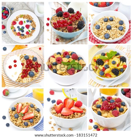 breakfast with different muesli and berries, collage of nine photos - stock photo