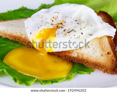 Breakfast with egg poached and toast