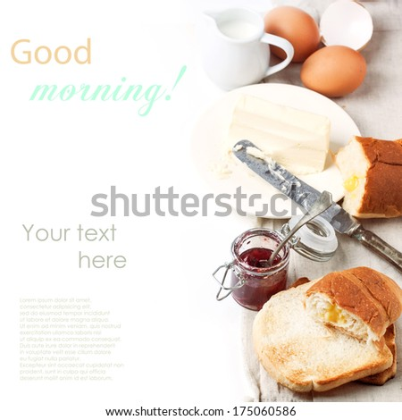 Breakfast with eggs and toasts served with jam and butter over white with sample text. See series.