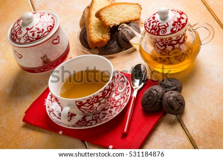 breakfast with english tea cake and cookie