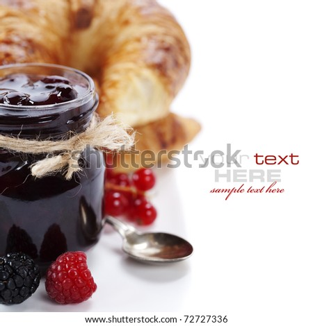 Breakfast with Fresh Croissants and jam (easy removable text) - stock photo