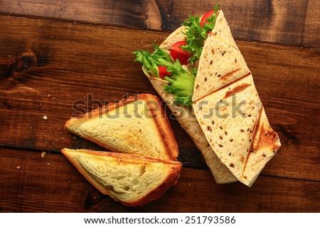 Breakfast with sandwich - stock photo