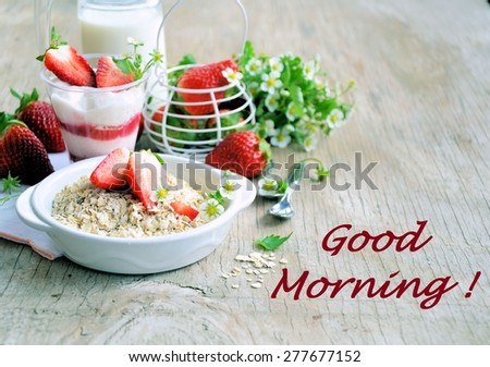 Breakfast with strawberries and cereal, healthy food, background for text - stock photo
