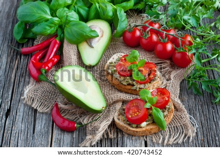 Breakfast with toast avocado, vegetarian food, healthy diet concept - stock photo
