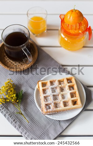 breakfast with waffles - stock photo
