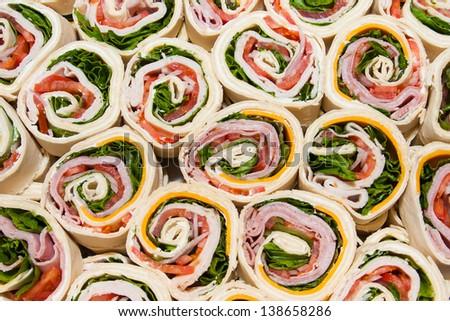 Breakfast wraps, deli wraps - stock photo
